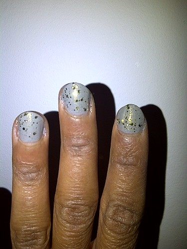 My nails look like speckled eggs. Ha