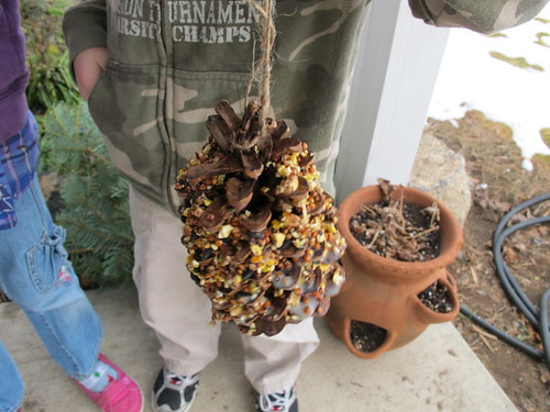 Pinecone bird feeder gift for G & G