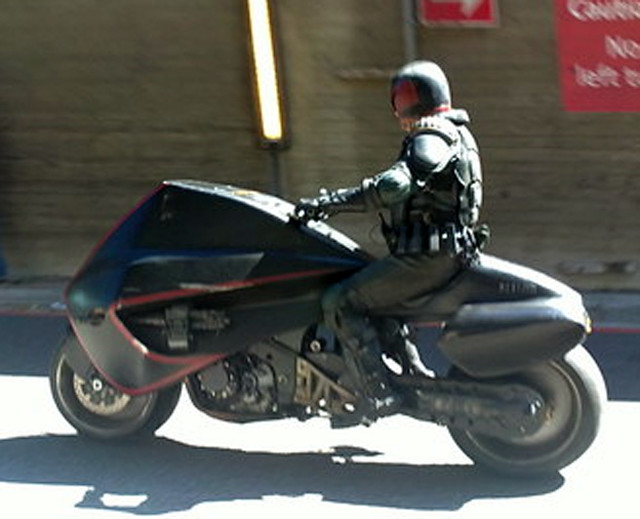 Dredd with the Lawmaster motorbike