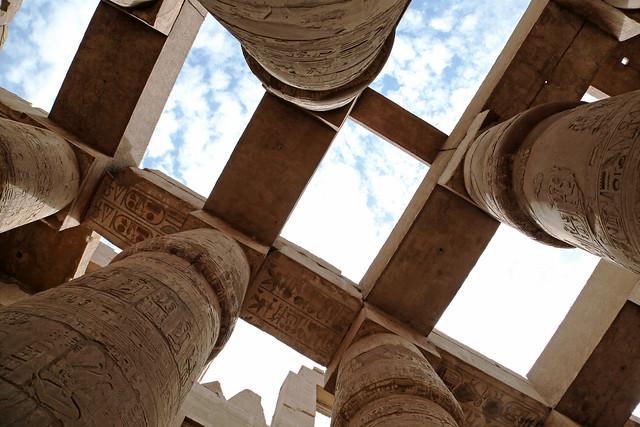 エジプト ルクソール カルナック神殿大列柱室 ヒエログリフ