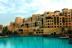 Dubai Mall Lake - Old City (Almsaeed) Tags: road bridge blue summer portrait sky bw panorama holiday reflection green tourism me nature water colors lines festival vertical skyline night digital marina photoshop canon mall lens landscape photography lights golden evening design l