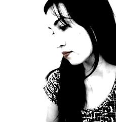 Pensando en blanco (Decolorcereza) Tags: blanco mujer negro cara ojos labios rostro pelo pensativa