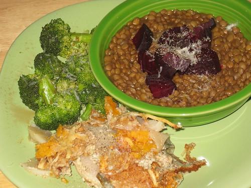 Turnip gratin, broccoli, lentils w/beets