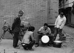 When A Holloware Is Finished (zhu haiping) Tags: street bw candid handicraftsman holloware