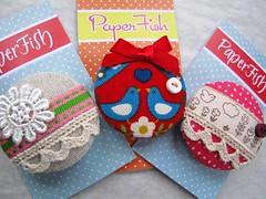 Stitch Brooches (kirstyfish) Tags: birds stitch linen sewing brooch craft