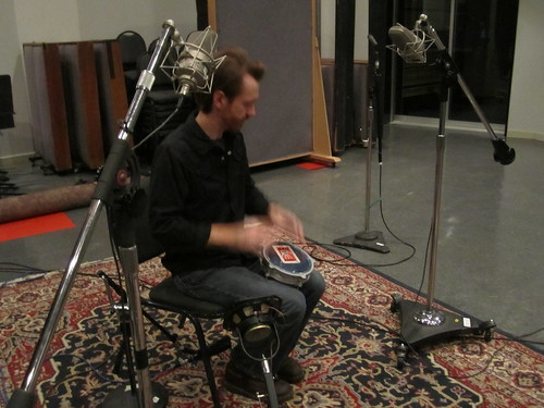 Recording a small african drum called a doumbek. This ones aluminum with a plastic head so it has a rather high-pitched tone.