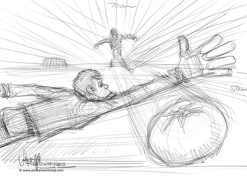 digital sketch of soccer tomato illustration