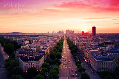 Even the sun sets more beautiful in Paris~ (Pink Pixel Photography (f.k.a. Sunny)) Tags: sunset paris champselysees explore frontpage shotfromarchedetriomphe