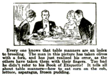 Etiquette Mistakes: The Olive Pop Mech Nov 1922