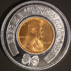 Encased 1935 cent obverse