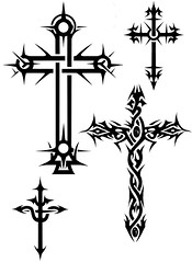 Crucifixo (Black Crown . tribal) Tags: white black art branco tattoo illustration dark design arte cross tribal preto cruz e tatoo ilustrao desenho escuro