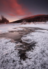 Decembers Chill (Wolfhorn) Tags: sunset cold ice nature water alaska frost wilderness
