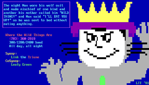BBS ANSI art - Where The Wild Things Are - Max - with crown - 19910917