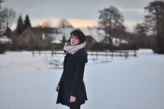 (kara o'keefe) Tags: bridge schnee portrait sky house snow tree girl scarf self river germany deutschland december bokeh coat remote neige kalt allemagne rosycheeks emsland d90 papenburg karaokeefe