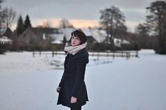 (kara o'keefe) Tags: bridge schnee portrait sky house snow tree girl scarf self river germany deutschland december bokeh coat remote neige kalt allemagne rosycheeks emsland d90 papenburg karaokeefe