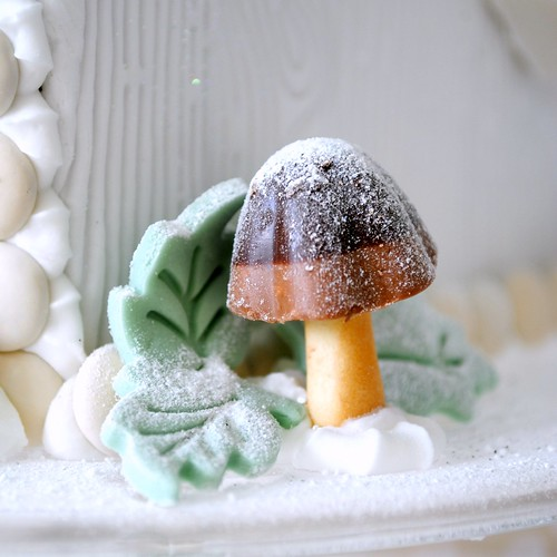 Mushroom cookie on Gingerbread Bird House