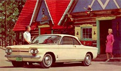 1964 Chevrolet Corvair Monza Club Coupe @ Santa's Village (aldenjewell) Tags: chevrolet postcard 1964 corvair monza santasvillage clubcoupe