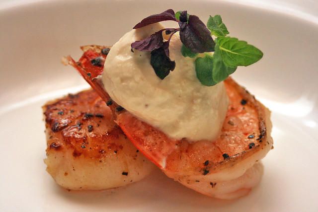 Lovely grilled scallop and shrimp with Glenfarclas whisky creme and bouquet of shiso mix