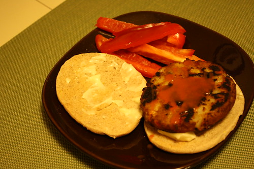 veggie burger and red peppers