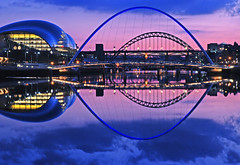 Tyne Blue (DWH284) Tags: pink blue cityscape sage tynebridge milleniumbridge newcastleupontyne rivertyne bridgesatnight