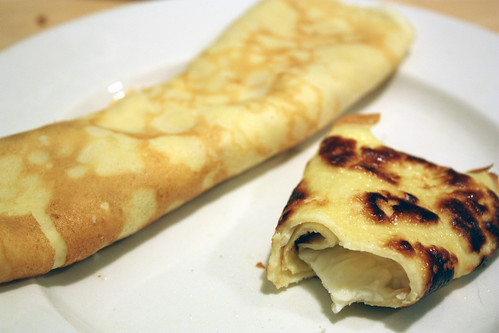 crepes, rolled up.