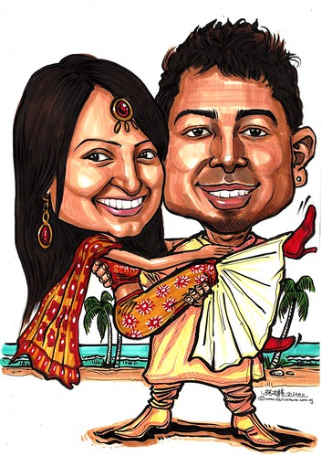 Indian traditional wedding couple caricatures - A4