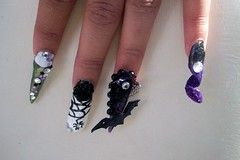 nail art 7 (Bretagne_Revenge) Tags: art glitter point spider purple lace nail bat swirl