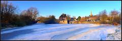 Houghton Mill pano (Cyclingpops) Tags: christmas uk england panorama mill ice frozen linux houghton ubuntu cambridgeshire watermill millpond huntingdon cambs hugin