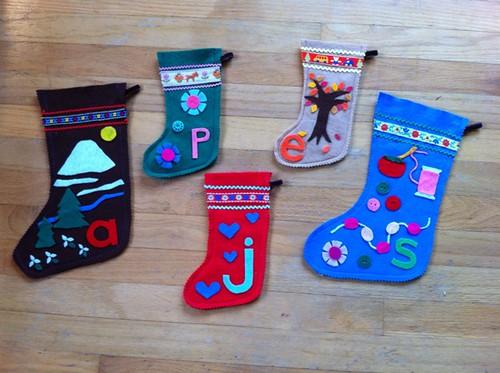 all five christmas stockings