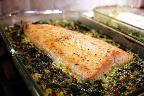 Roasted Salmon with Creamy Curried Spinach