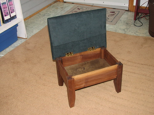 Walnut Footstool - Open