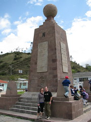 Meg and Dave at  Equator Monument (#2), Calacali