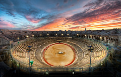 The Gladiator Arena at Sunset (Stuck in Customs) Tags: world city travel sunset france rome history architecture digital french photography blog high blood sand ancient europe republic dynamic stuck state roman south events amphitheatre september arena southern photoblog software processing western historical imaging amphitheater nimes region range roussillon department hdr languedoc tutorial trey gard travelblog customs 2010 nmes southernfrance gaul rpubliquefranaise bullfights ratcliff viadomitia hdrtutorial stuckincustoms treyratcliff photographyblog stuckincustomscom colonianemausus nikond3x llenguadocrossell lengadcrosselhon