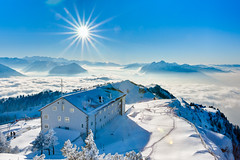 Rigi Kulm (Thierry Hennet) Tags: blue winter panorama sun white house mountain snow alps fog architecture zeiss landscape hotel switzerland outdoor sony snowcapped pilatus hdr clearsky rigi 3xp photomatix a900 coldtemperature cz2470mmf28 gettyimagessalq1
