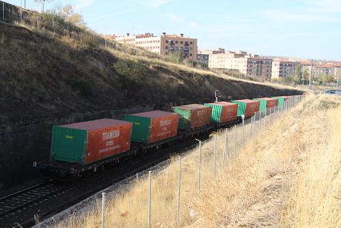 Tren de mercancías atravesando Tejares (Salamanca)