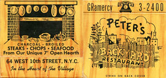 Peter's Backyard Restaurant (jericl cat) Tags: illustration cat vintage fence paper restaurant design alley backyard fireplace phone telephone ephemera peter hearth peters steakhouse matchbook