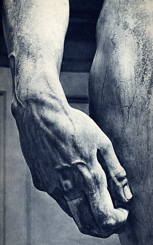 David, hand detail, by Michelangelo 1501-1504