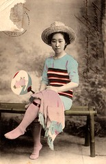 Crazy outfit (Maiko Child - Japan ladies) Tags: old girl beauty japan japanese postcard maiko geisha kimono obi japon odori ohana