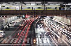 Triple (planet-110) Tags: longexposure urban motion blur station night train tokyo traffic trail