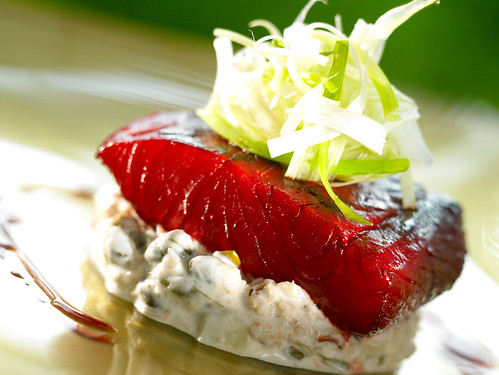 Char Sui of Salmon with Crab Gribiche