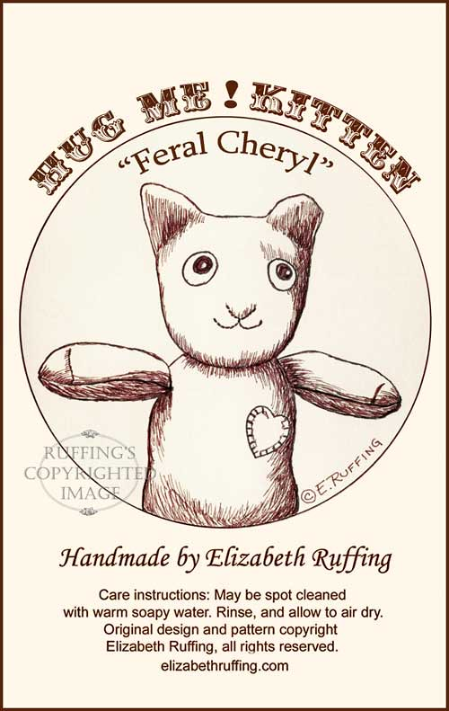 Feral Cheryl the TNR Demo Cat, hang tag by Elizabeth Ruffing