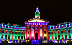 Holiday LIghts In Denver (Kevin D. Haley) Tags: christmas longexposure nightphotography winter urban lights colorado downtown nightlights nightshot denver christmaslights citylights nightshots holidaylights civiccenter denvercolorado downtowndenver urbannightshots cityandcountybuilding milehighcity colorsofthenight kevindhaleyphotography 20110108denver4223a kevindhaley