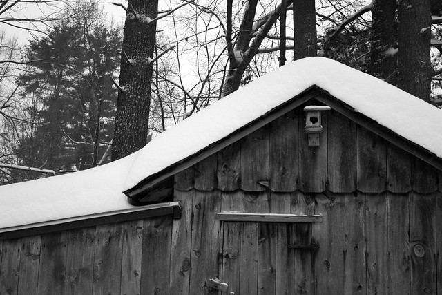snow piled on the shed
