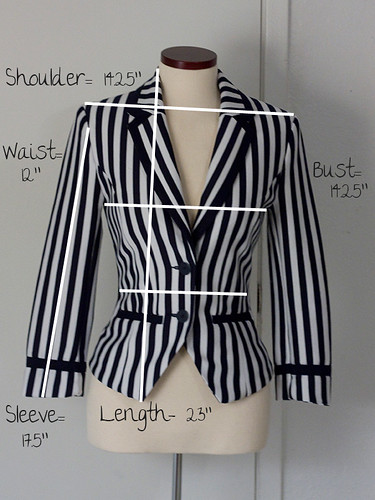 H&M-Striped-Blazer-Measurements