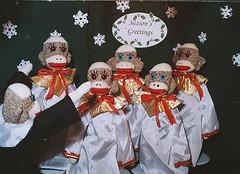 Sock Monkey Choir (monkeymoments) Tags: snowflakes whimsy humor nostalgia sockmonkeys monkeys popculture choirpractice monkeyfun sockmonkeychoir