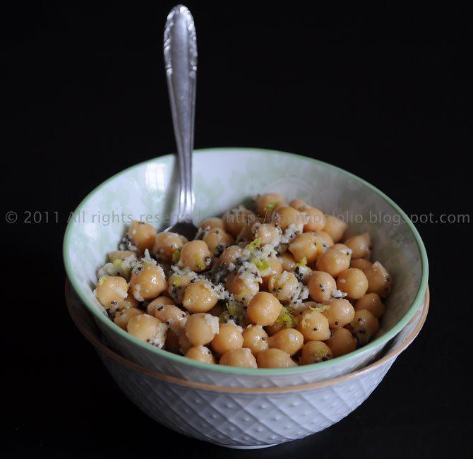 insalata di ceci con limone parmigiano e semi di papavero
