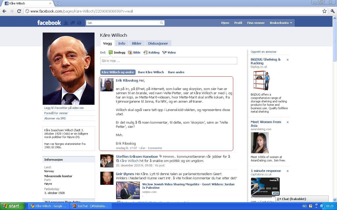 ingen har skrevet noe mer på willoch sin facebook side
