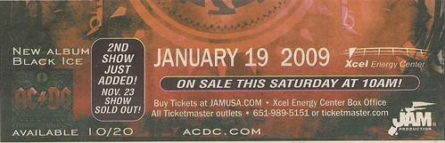 01/19/09 AC/DC @ St. Paul, MN (Ad - Bottom)