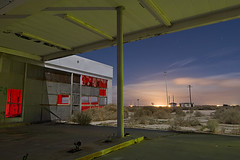 Petro-Foam (Lost America) Tags: lightpainting abandoned night clouds desert gasstation fullmoon timeexposure mojave petrol canopy nocturnes northedwards