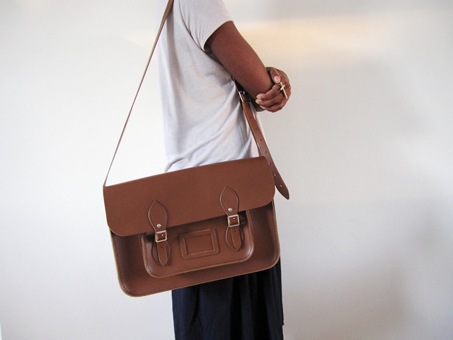 tom brown leather satchel